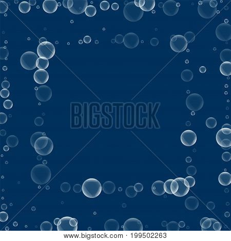 Random Soap Bubbles. Square Abstract Frame With Random Soap Bubbles On Deep Blue Background. Vector