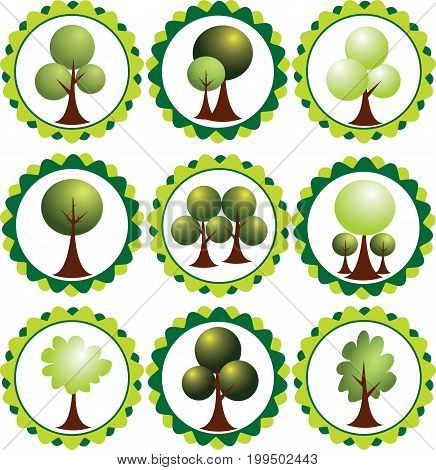 Vector graphic. Abstract eco labels green tress.
