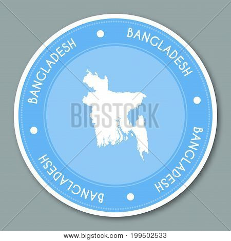 Bangladesh Label Flat Sticker Design. Patriotic Country Map Round Lable. Country Sticker Vector Illu