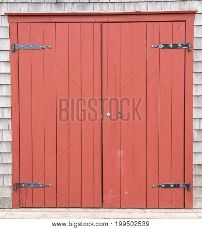 Red Brown Barn Doors To Old Farm Structure