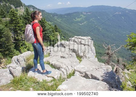 Travel adventure and hiking activity In the mountains active and healthy lifestyle on summer vacation and weekend tour. Traveler travel In the mountains reserve