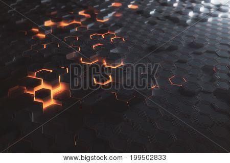 Amber Hexagon Wallpaper