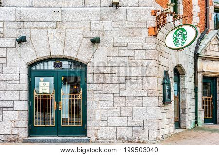 Quebec City Canada - May 29 2017: Starbucks cafe restaurant sign entrance at Chateau Frontenac