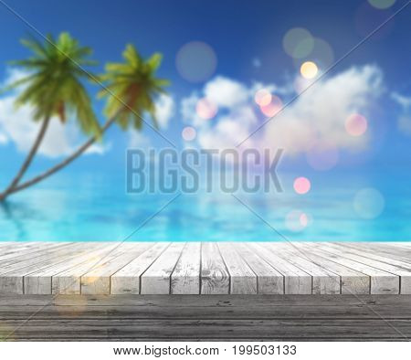 3D render of a wooden table looking out to a tropical landscape