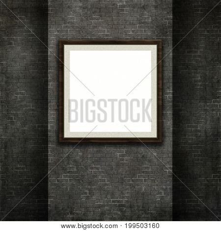 3D render of a picture frame on a grunge style brick wall texture background
