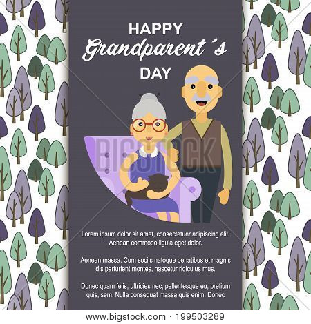 Happy Grandparents day. Card for your greetings. Stock vector.