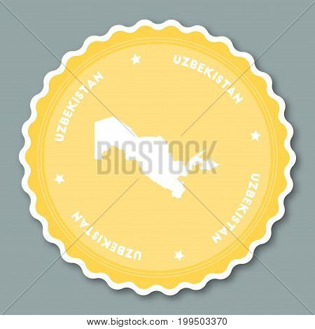 Uzbekistan Sticker Flat Design. Round Flat Style Badges Of Trendy Colors With Country Map And Name.