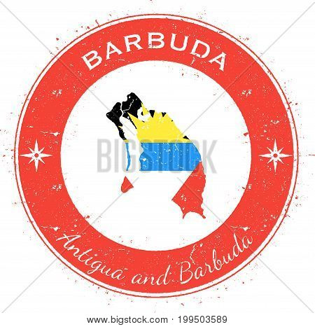 Barbuda Circular Patriotic Badge. Grunge Rubber Stamp With Island Flag, Map And Name Written Along C