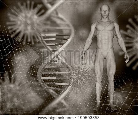 3D render of a grunge style medical image with male figure, DNA strands and virus cells