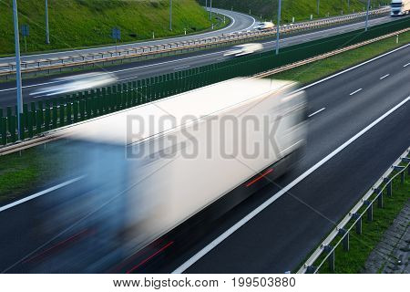 Trucks On Four Lane Controlled-access Highway In Poland