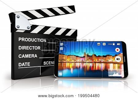 3D render illustration of modern black glossy touchscreen smartphone or mobile phone with photo camera app screen and cinema studio clapper board equipment isolated on white background with reflection effect