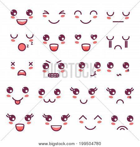Kawaii cute faces, Kawaii emoticons, adorable characters icons design.