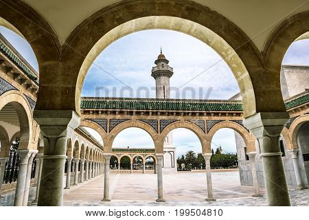 Monastir .Tunisia.May 23 2017.The courtyard of the Mausoleum of Habib Bourguiba in Monastir