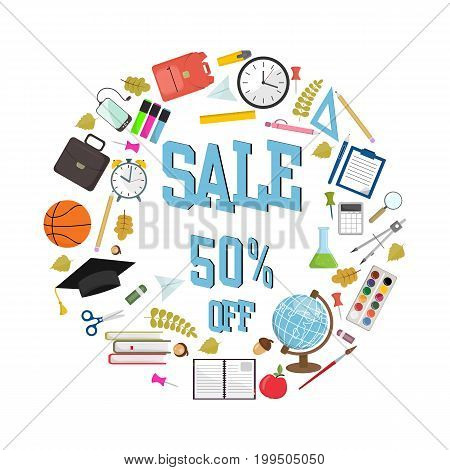 Back to school sale poster or banner template with hand drawn text elements on squared paper vector illustration