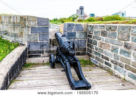 Closeup Of Cannon In Citadel Fortress In Quebec City, Canada