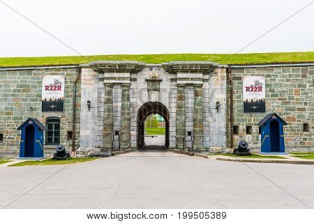 Quebec City Canada - May 29 2017: Entrance to citadel fortress with road and empty guards and nobody