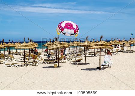 Sousse.Tunisia.22 may 2017.Beach hotel Marhaba in Sousse on the Mediterranean sea.