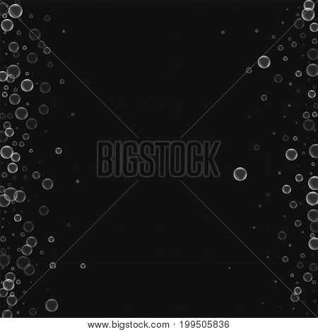 Soap Bubbles. Messy Border With Soap Bubbles On Black Background. Vector Illustration.