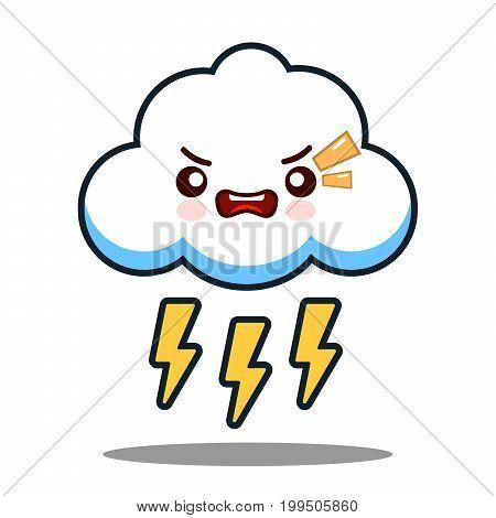 cute cloud lightning bolt kawaii face icon cartoon character Flat design Vector Illustration