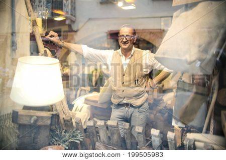 Artisan in his shop