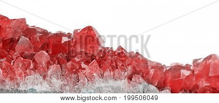 macro photo of red ruby crystals isolated on white background