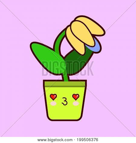 cute cartoon flower icon with funny face in pot kawaii plant character . Flat design Vector Illustration