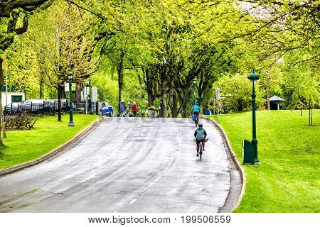 Quebec City Canada - May 30 2017: People on bikes on street in plaines d'Abraham by Grande Allee in morning during rainy day