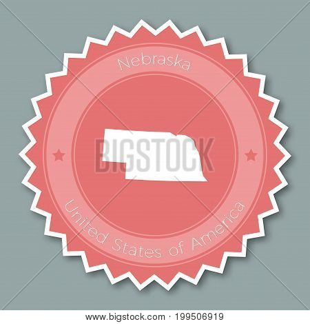 Nebraska Badge Flat Design. Round Flat Style Sticker Of Trendy Colors With The State Map And Name. U