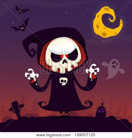 Cute cartoon grim reaper with scythe poster for Halloween party. Simple background with cemetery and full moon