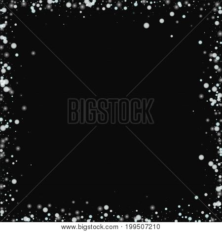 Beautiful Falling Snow. Chaotic Frame With Beautiful Falling Snow On Black Background. Vector Illust