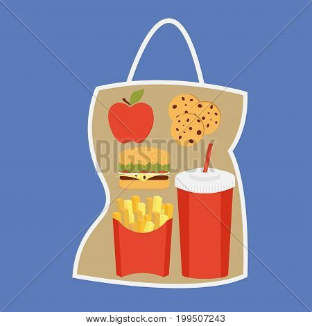 Lunchbox with apple, coockies, potatoes fries in a red carton box, beverage and burger  package
