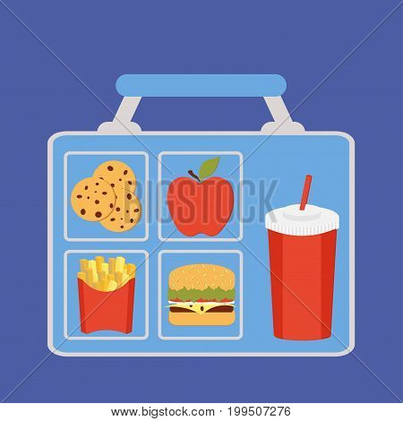 Lunchbox with apple, coockies, potatoes fries, beverage and burger vector