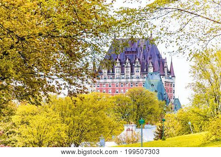 Quebec City, Canada - May 30, 2017: View Of Chateau Frontenac By Old Town With Golden Autumn Trees