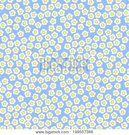 Cute tiny white flowers on blue background seamless pattern millefiori summer theme. Kids girly feminine.