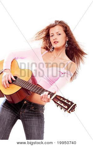 Girl with guitar rock and roll style
