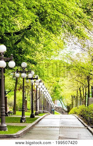Grande Allee sidewalk with row of lantern light lamps during day with nobody in Quebec City Canada