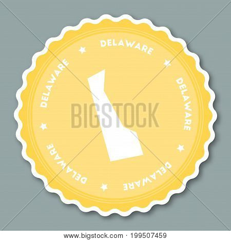 Delaware Sticker Flat Design. Round Flat Style Badges Of Trendy Colors With The State Map And Name.
