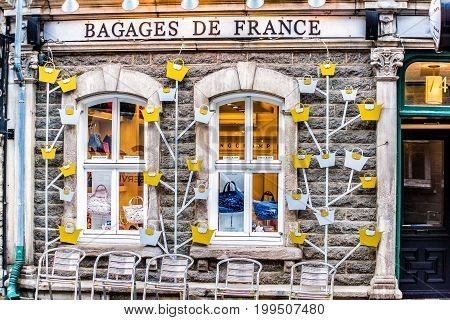 Quebec City, Canada - May 30, 2017: Purse Store Called Bagages De France With Storefront Window Entr