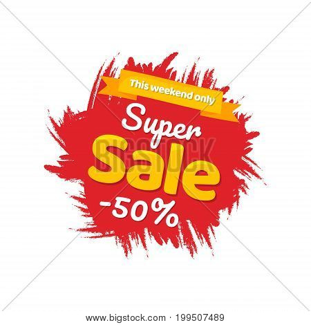 Super Sale, this weekend special offer banner, up to 50% off.