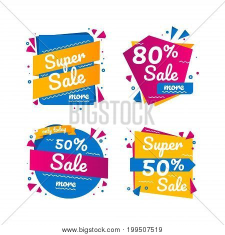 Super origami sale banners. Flat banners set. Sale Tags Graphic Elements in Paper Origami style.