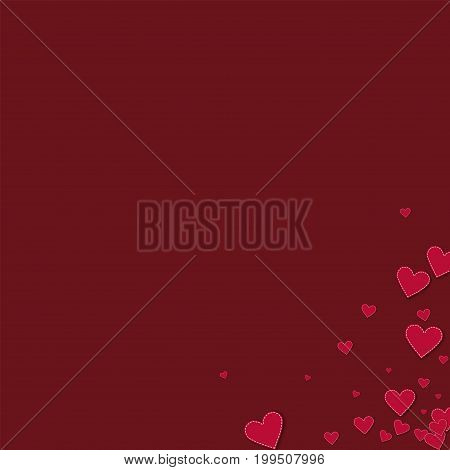 Red Stitched Paper Hearts. Messy Bottom Right Corner On Wine Red Background. Vector Illustration.