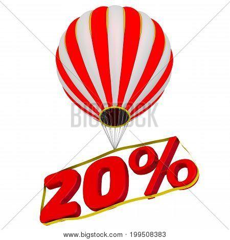 Twenty percent flies in a hot air balloon. Isolated. 3D Illustration