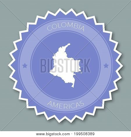 Colombia Badge Flat Design. Round Flat Style Sticker Of Trendy Colors With Country Map And Name. Cou