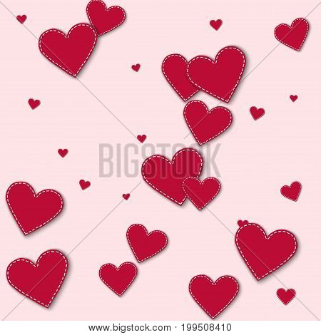 Red Stitched Paper Hearts. Scatter Vertical Lines On Light Pink Background. Vector Illustration.