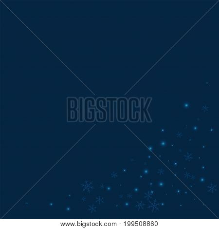 Sparse Glowing Snow. Bottom Right Corner On Deep Blue Background. Vector Illustration.