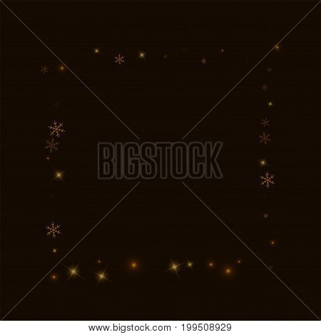 Sparse Starry Snow. Square Abstract Border On Black Background. Vector Illustration.
