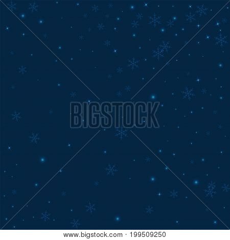 Sparse Glowing Snow. Random Scatter On Deep Blue Background. Vector Illustration.
