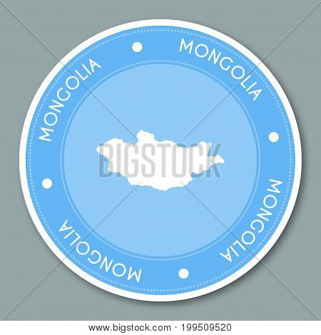 Mongolia Label Flat Sticker Design. Patriotic Country Map Round Lable. Country Sticker Vector Illust