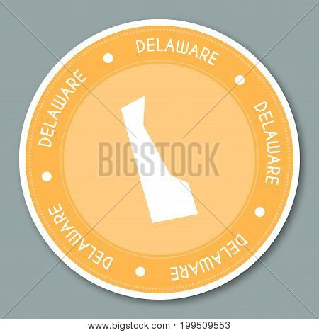 Delaware Label Flat Sticker Design. Patriotic Us State Map Round Lable. Round Badge Vector Illustrat