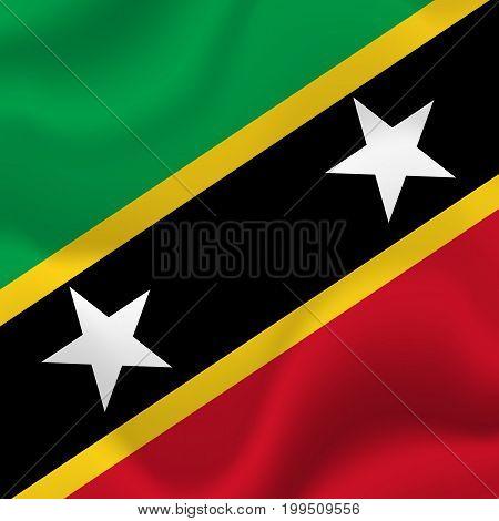 Saint Kitts and Nevis waving flag. Vector illustration.